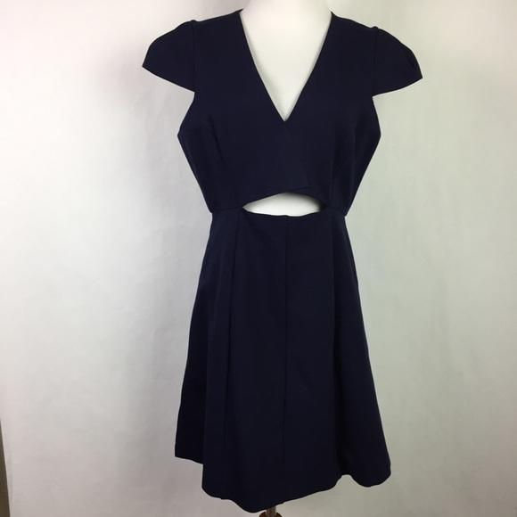 70dd5dbd35 NEW Halston Heritage V Neck Cap Sleeve Mini Dress